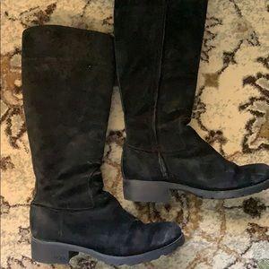 UGG Broome Boots Black Suede Womens 7 Heels Wool